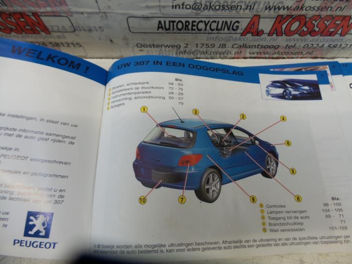 Gebruikte Peugeot 307 3a C D 1 6 16v Instructie Boekje
