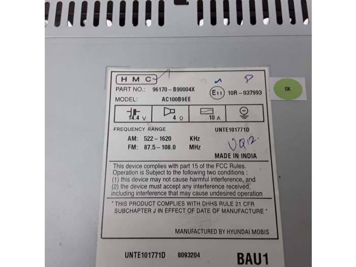 Radio CD player for Hyundai I10 96170B90004X,AC100B9EE